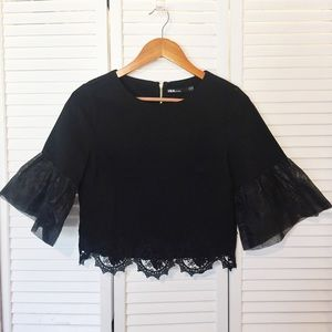 Ina black lace crop top